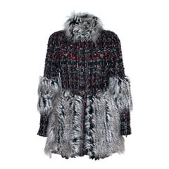 Chanel Black and Red Tweed Jacket with Grey Faux-Fur Trim