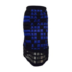 Chanel Black and Royal Blue Colorblocked Quilted A-Line Skirt With Sheer Hem