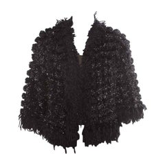 Chanel Black and Silver Perforated Crochet Knit Fringed Cropped Jacket M