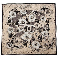 Chanel Black and White Camelia Scarf