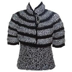 Chanel Black And White Cutout Detail Bolero Jacket and Sleeveless Top Set M