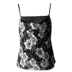 Chanel Black and White Floral Lace Top Size 40 *fits small