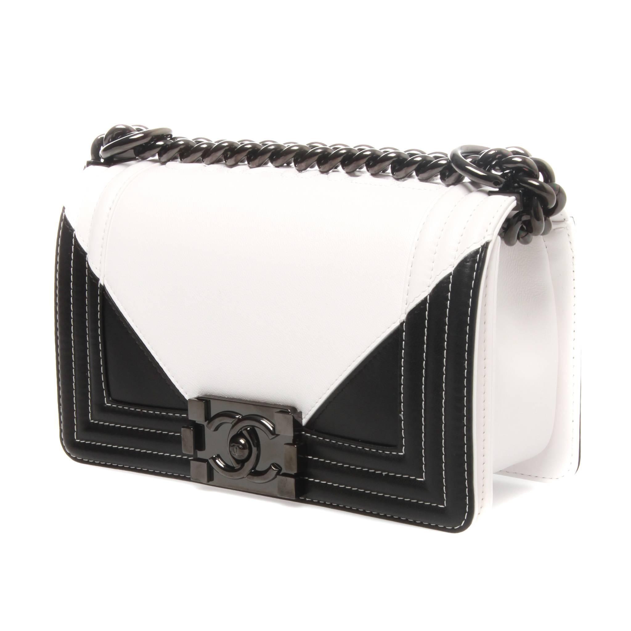 Chanel Black And White Geometric Lambskin Medium Boy Bag