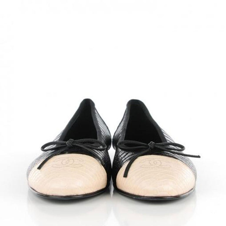 Chanel Black and White Limited Edition & Crocodile Alligator Ballet 39.5 Flats For Sale 1