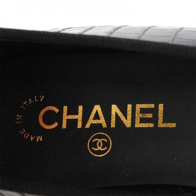 Chanel Black and White Limited Edition & Crocodile Alligator Ballet 39.5 Flats For Sale 3