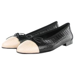Chanel Black and White Limited Edition & Crocodile Alligator Ballet 39.5 Flats