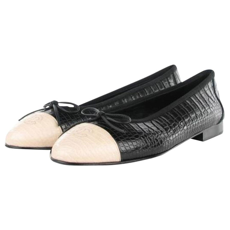 Chanel Black and White Limited Edition & Crocodile Alligator Ballet 39.5 Flats For Sale