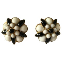 """Chanel Black and White """"pate de verre"""" Stylized Camellia  Statement Earrings"""