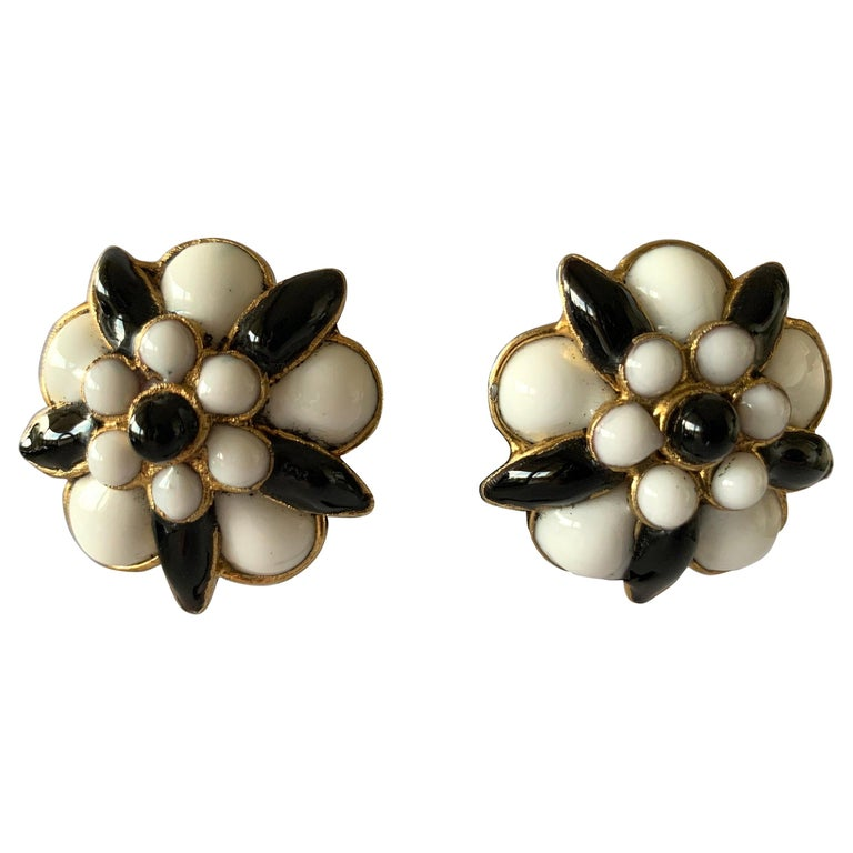 """Chanel Black and White """"pate de verre"""" Stylized Camellia  Statement Earrings For Sale"""