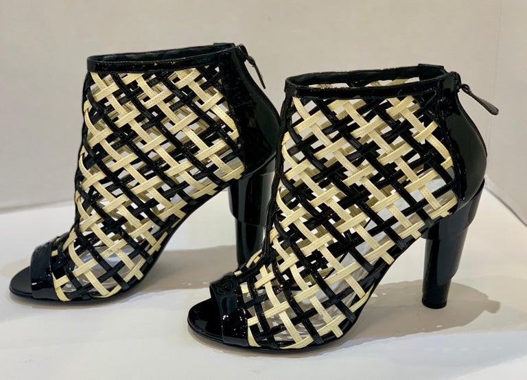 Women's Chanel Black and White Patent Leather Cage Peep Toe Booties Shoes Size 41 or 11 For Sale