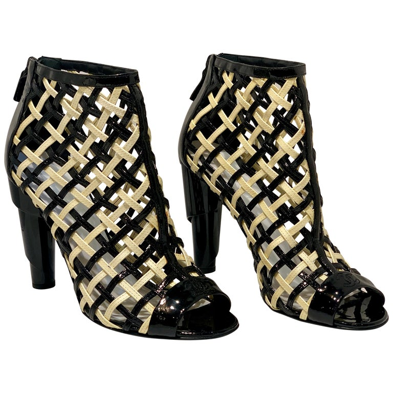 Chanel Black and White Patent Leather Cage Peep Toe Booties Shoes Size 41 or 11 For Sale