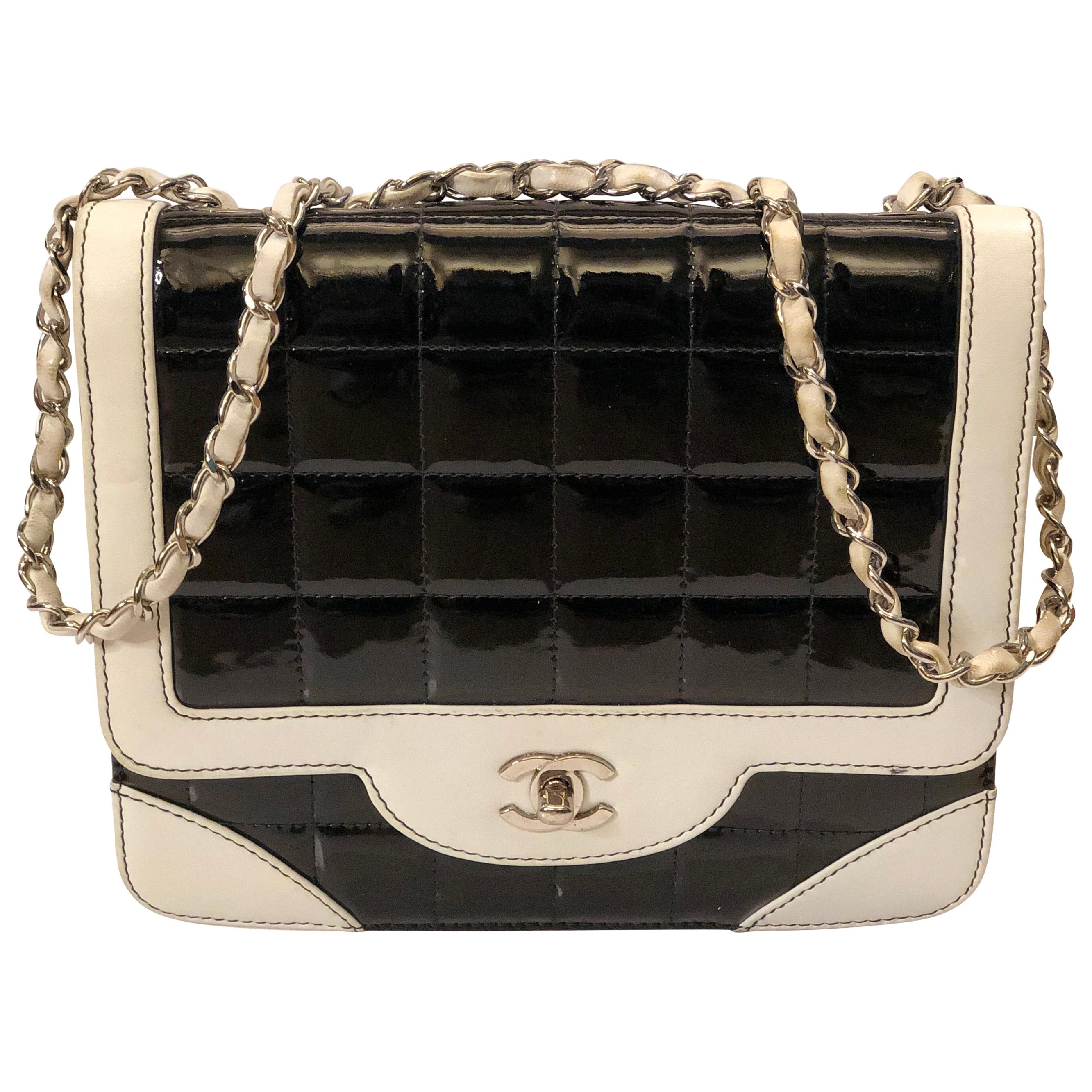 Chanel Black and  White Patent Leather Shoulder Strap bag