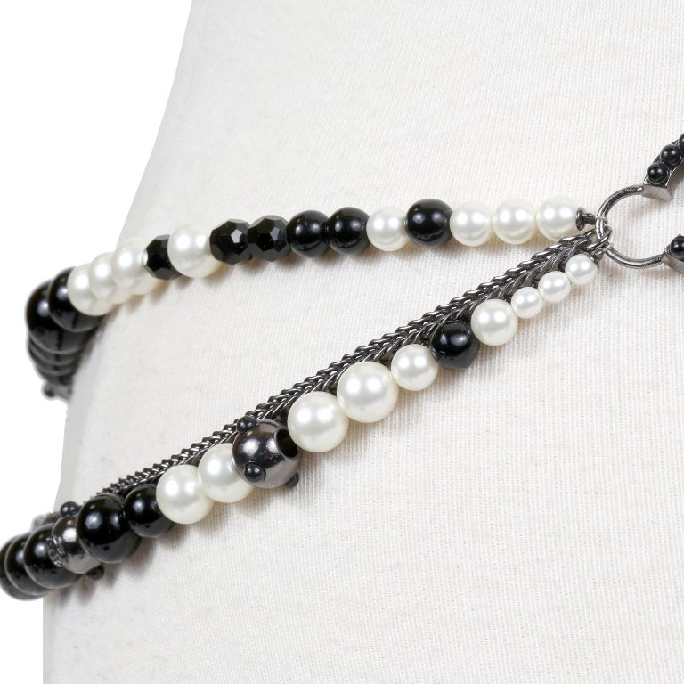 Chanel Black and White Pearl Tassel Belt Necklace For Sale 2