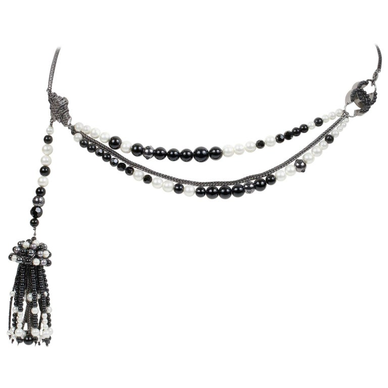 Chanel Black and White Pearl Tassel Belt Necklace For Sale