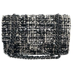 Chanel Black and White Tweed Double Flap Classic Bag