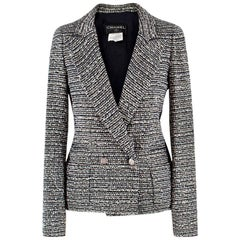 Chanel Black and White Tweed Jacket French 34