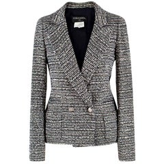 Chanel Black and White Tweed Jacket - Size US 0-2