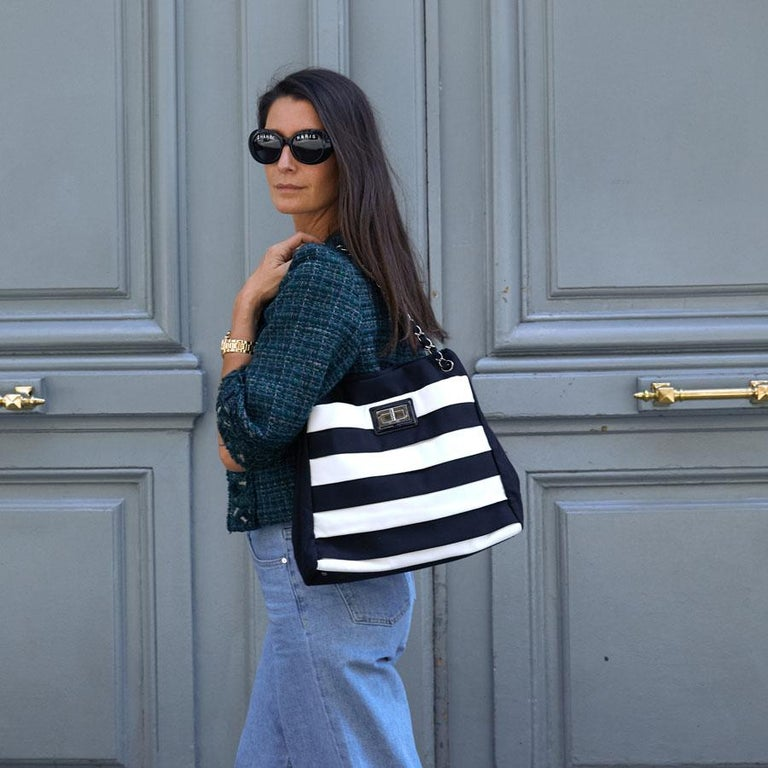 Chanel Black and White Two-Tone bag For Sale 10