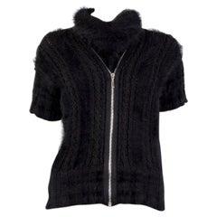 CHANEL black Angora ZIP FRONT Short Sleeve Turtleneck Sweater 40 M