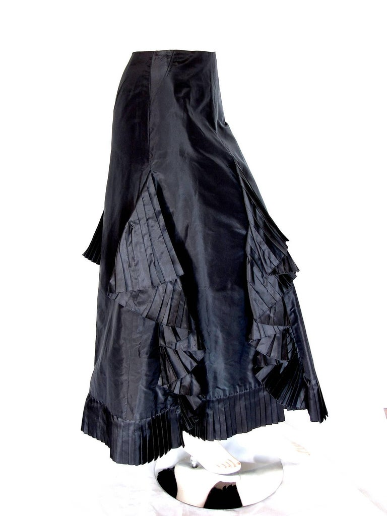 Chanel Black Asymmetric Skirt with Pleated Ruffles Silk Taffeta Evening 02A Sz S In Good Condition For Sale In Port Saint Lucie, FL
