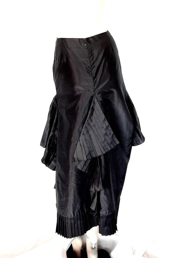 Women's Chanel Black Asymmetric Skirt with Pleated Ruffles Silk Taffeta Evening 02A Sz S For Sale
