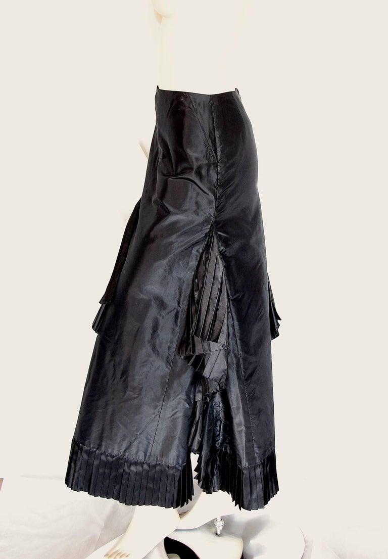 Chanel Black Asymmetric Skirt with Pleated Ruffles Silk Taffeta Evening 02A Sz S For Sale 1