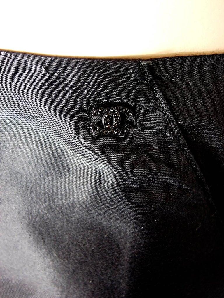 Chanel Black Asymmetric Skirt with Pleated Ruffles Silk Taffeta Evening 02A Sz S For Sale 2