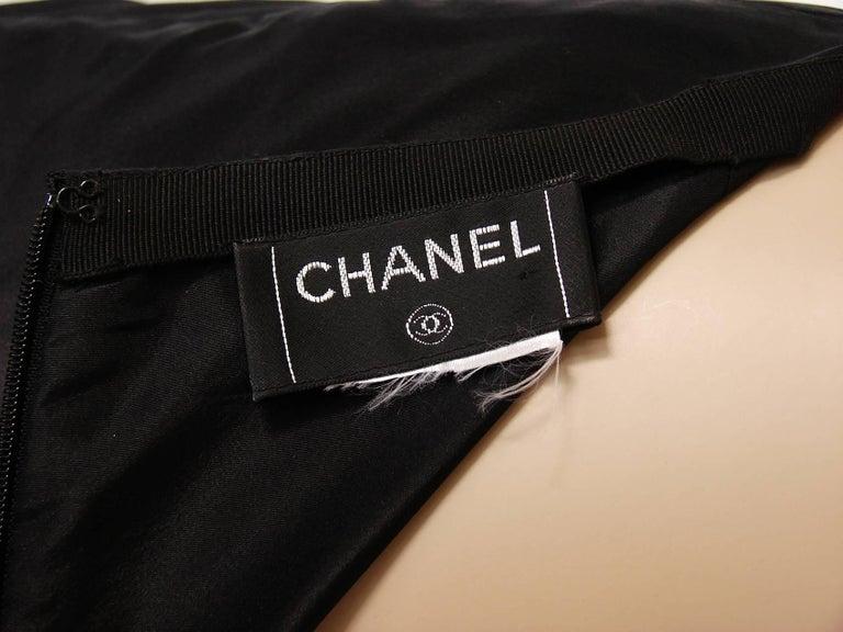 Chanel Black Asymmetric Skirt with Pleated Ruffles Silk Taffeta Evening 02A Sz S For Sale 3
