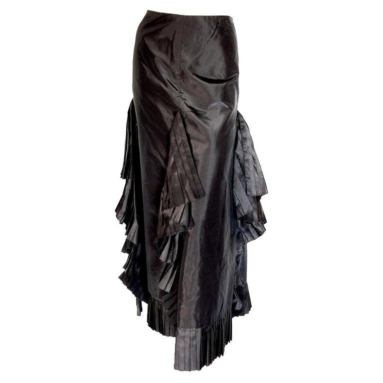 Chanel Black Asymmetric Skirt with Pleated Ruffles Silk Taffeta Evening 02A Sz S For Sale