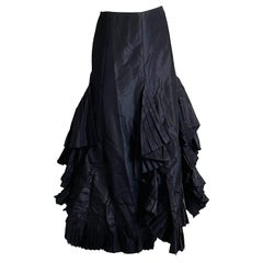Chanel Black Asymmetric Skirt with Pleated Ruffles Silk Taffeta Evening 02A Sz S
