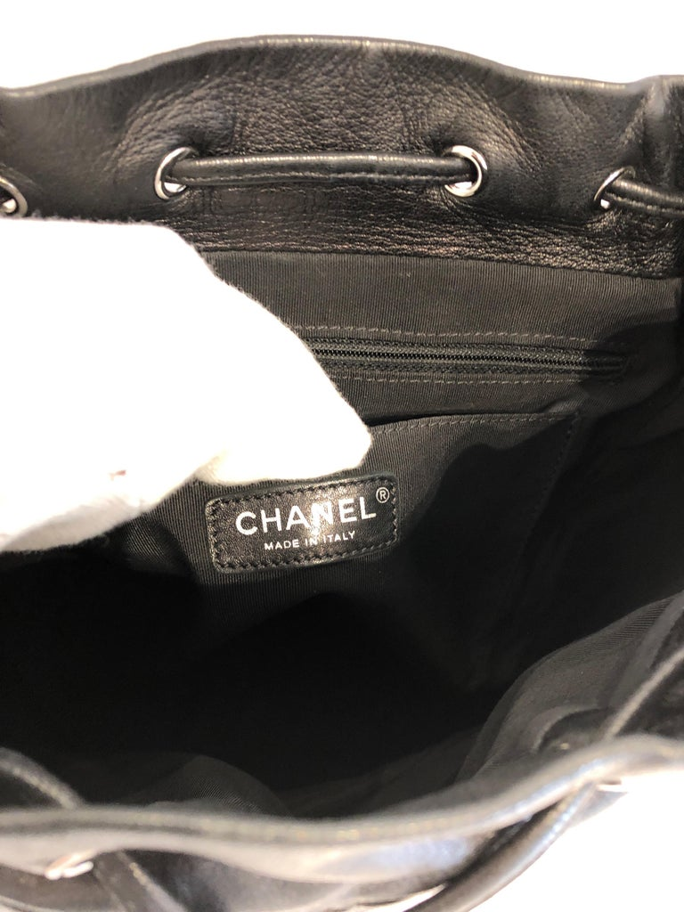 Women's or Men's Chanel Black Backpack Quilted Lambskin Large,2016  For Sale