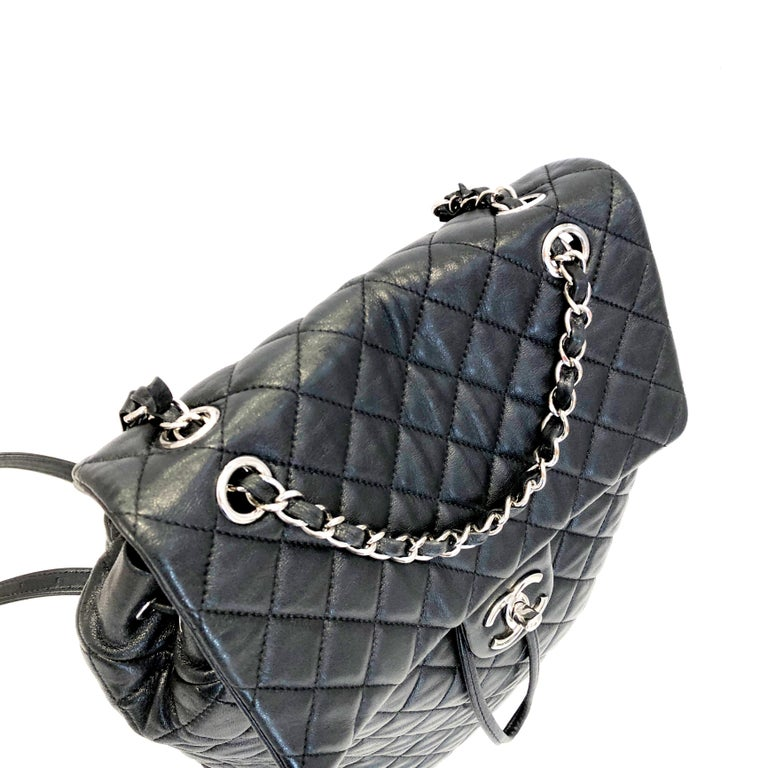 Chanel Black Backpack Quilted Lambskin Large,2016  In Good Condition For Sale In Milan, IT
