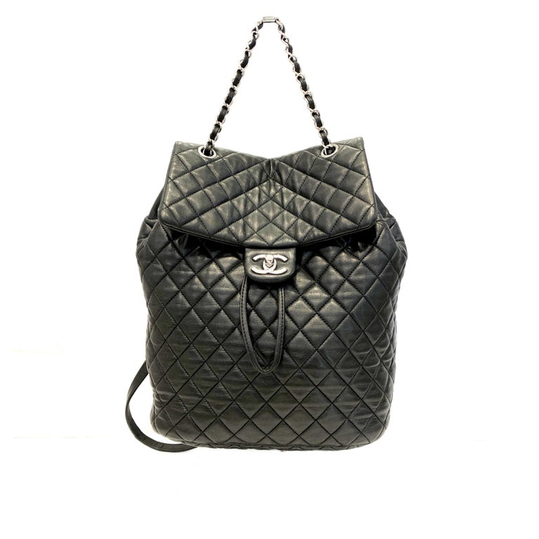 Chanel Black Backpack Quilted Lambskin Large,2016  For Sale 2