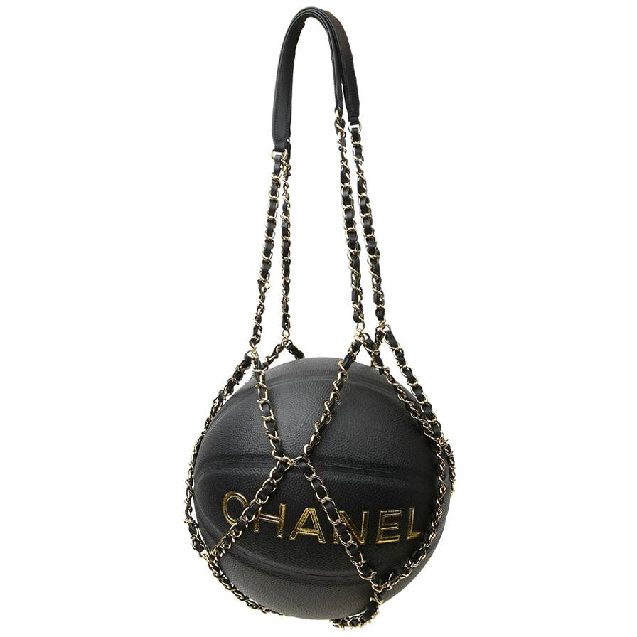 CHANEL Black BasketBall with its Chain in Leather and Metal