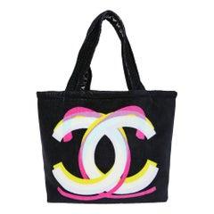 Chanel black beach bag