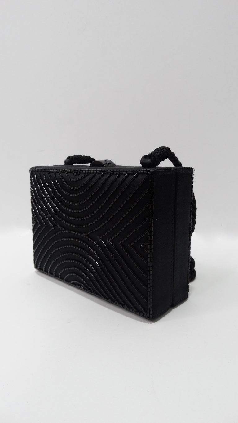 Chanel Black Beaded Evening Bag  In Good Condition For Sale In Scottsdale, AZ