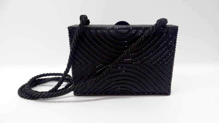 Women's or Men's Chanel Black Beaded Evening Bag  For Sale