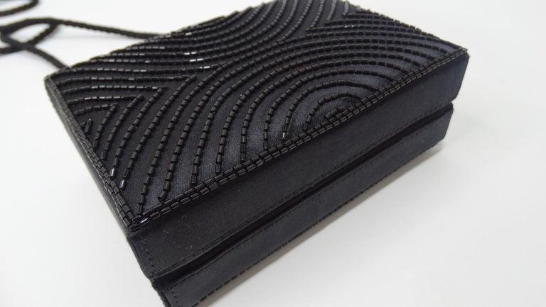 Chanel Black Beaded Evening Bag  For Sale 2