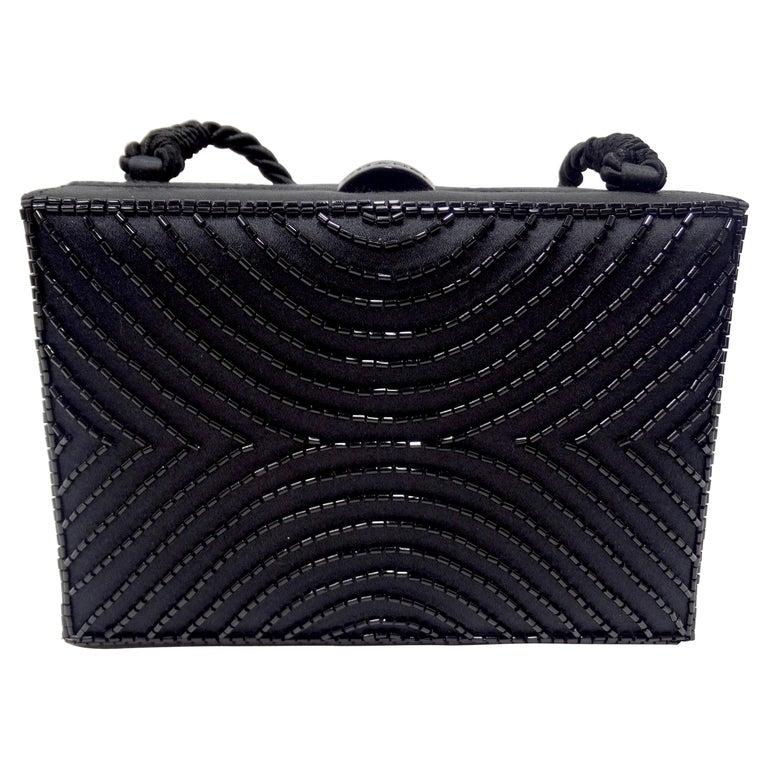 Chanel Black Beaded Evening Bag  For Sale