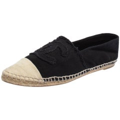 Chanel Black/Beige Canvas CC Flats Espadrilles Size 38