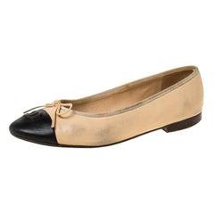 Chanel Black/Beige Leather Bow CC Cap Toe Ballet Flats Size 38