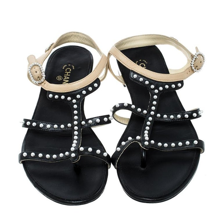 348fd4439 Chanel Black Beige Leather Faux Pearl Embellished Strappy Flat Sandals Size  37.5 In Good Condition