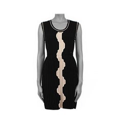 CHANEL black & beige wool PLEATED Sleeveless Dress 36