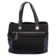 Chanel Black Blue Nylon Rue Cambon Large Shopping Tote Bag