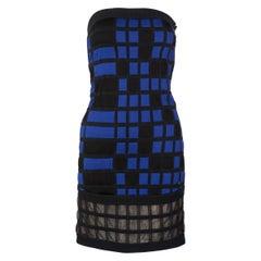 Chanel Black Blue Strapless Mini Dress Runway, 2013