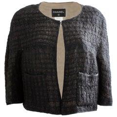 Chanel Black Bolero Jacket Camellia Silk Lining Size 44 2013