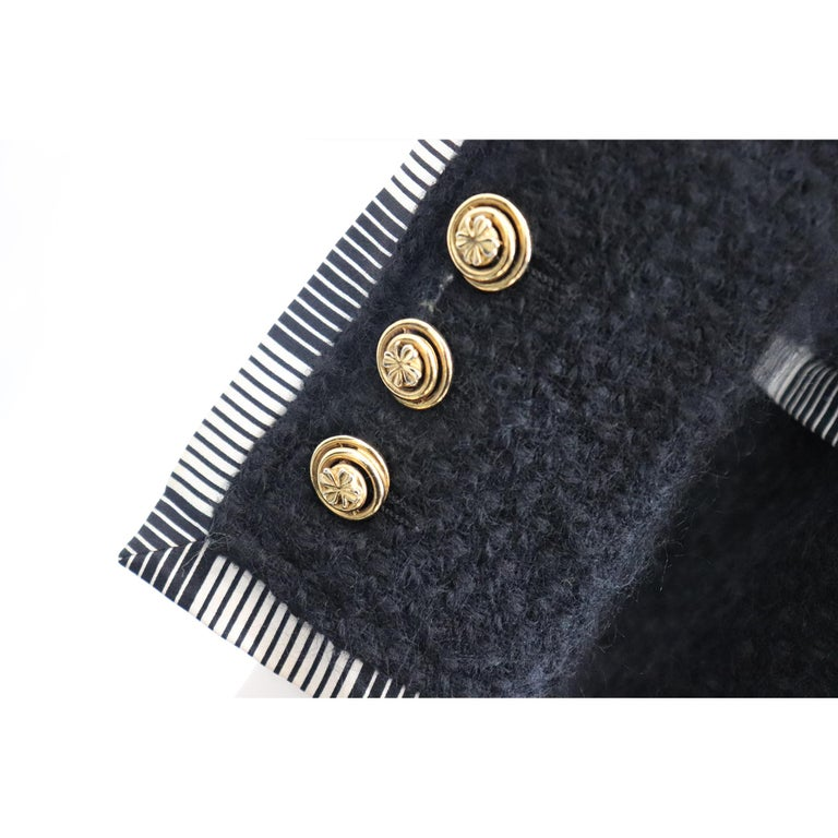 Chanel Black Boucle w/ Stripes and Gold Accents Skirt Suit (5PC) Circa 1990s For Sale 7
