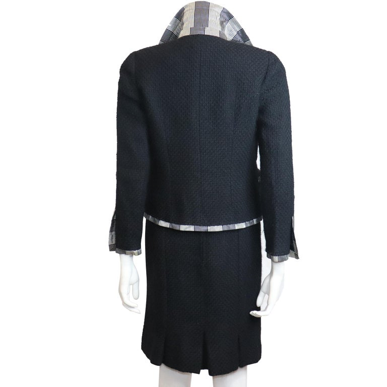 Chanel Black Boucle w/ Stripes and Gold Accents Skirt Suit (5PC) Circa 1990s In Excellent Condition For Sale In Los Angeles, CA