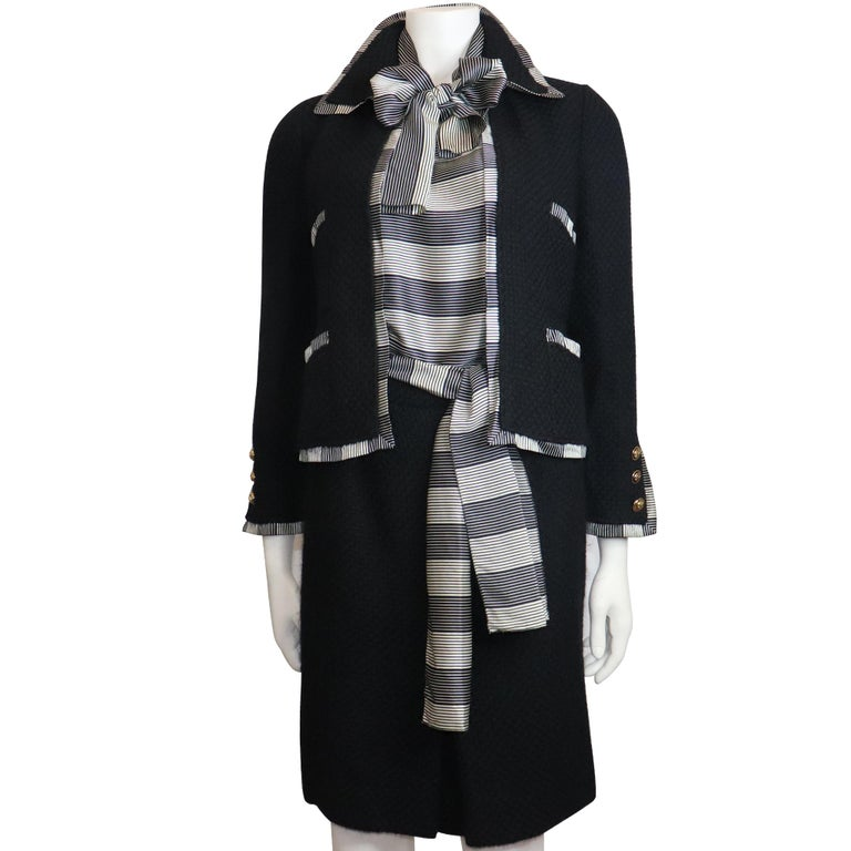Women's Chanel Black Boucle w/ Stripes and Gold Accents Skirt Suit (5PC) Circa 1990s For Sale