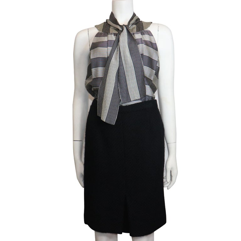 Chanel Black Boucle w/ Stripes and Gold Accents Skirt Suit (5PC) Circa 1990s For Sale 1